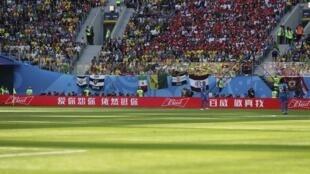 俄羅斯世界盃球場上隨處可見中文廣告