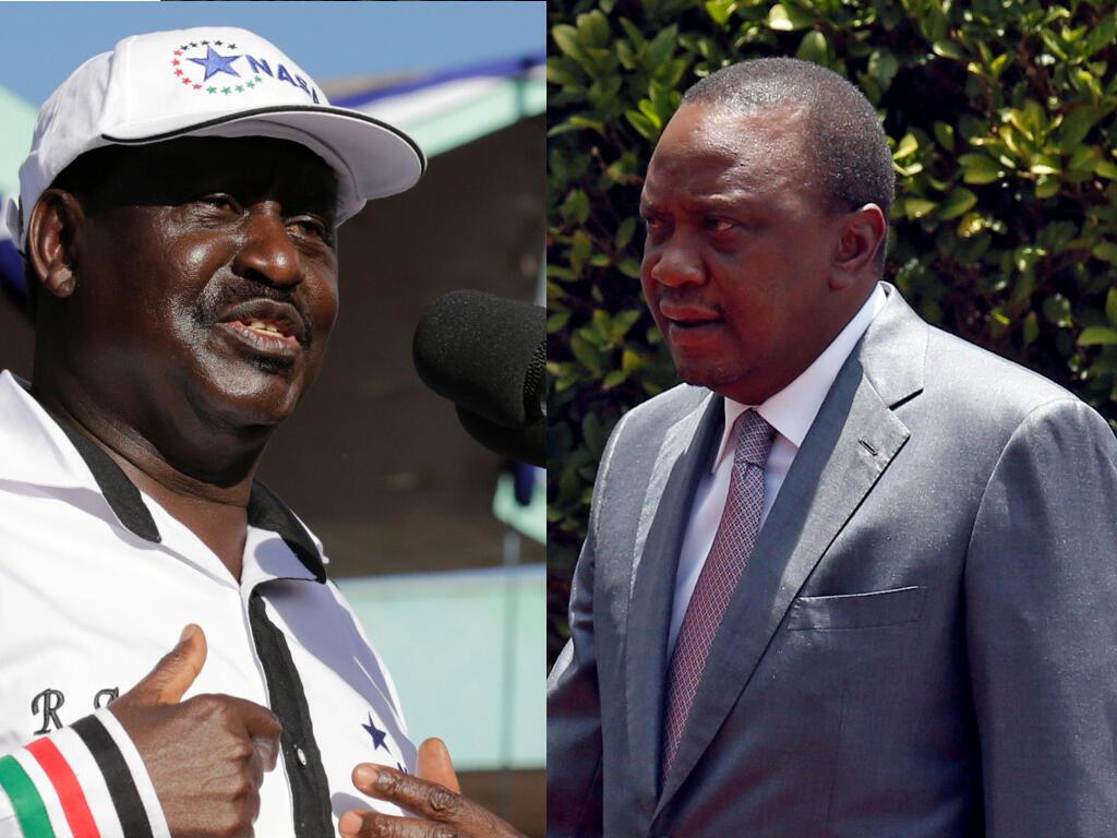 Kinara wa muungano wa upinzani nchini Kenya Raila Odinga (Kushoto) na rais Uhuru Kenyatta(Kulia)