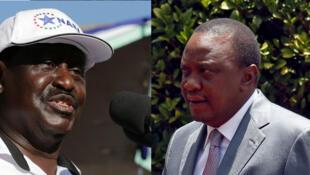 Uhuru Kenyatta (d) et Raila Odinga (g) sont candidats à l'élection présidentielle d'août 2017 au Kénya.