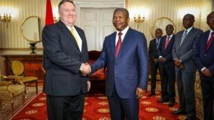 Mike Pompeo, Secretário de Estado norte-americano, e João Lourenço, Presidente de Angola. Palácio Presidencial, Luanda. 17 de Fevereiro de 2020.