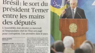 """Jornal Le Figaro diz """"que o destino do presidente Temer está nas mãos dos deputados"""""""