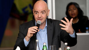 FIFA President Gianni Infantino gestures during a media roundtable in Doha, Qatar February 16, 2017.