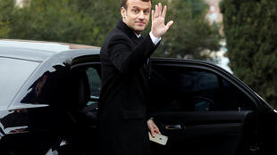 French President Emmanuel Macron waves as he leaves after visiting the Domus Aurea in Rome, Italy January 11, 2018.