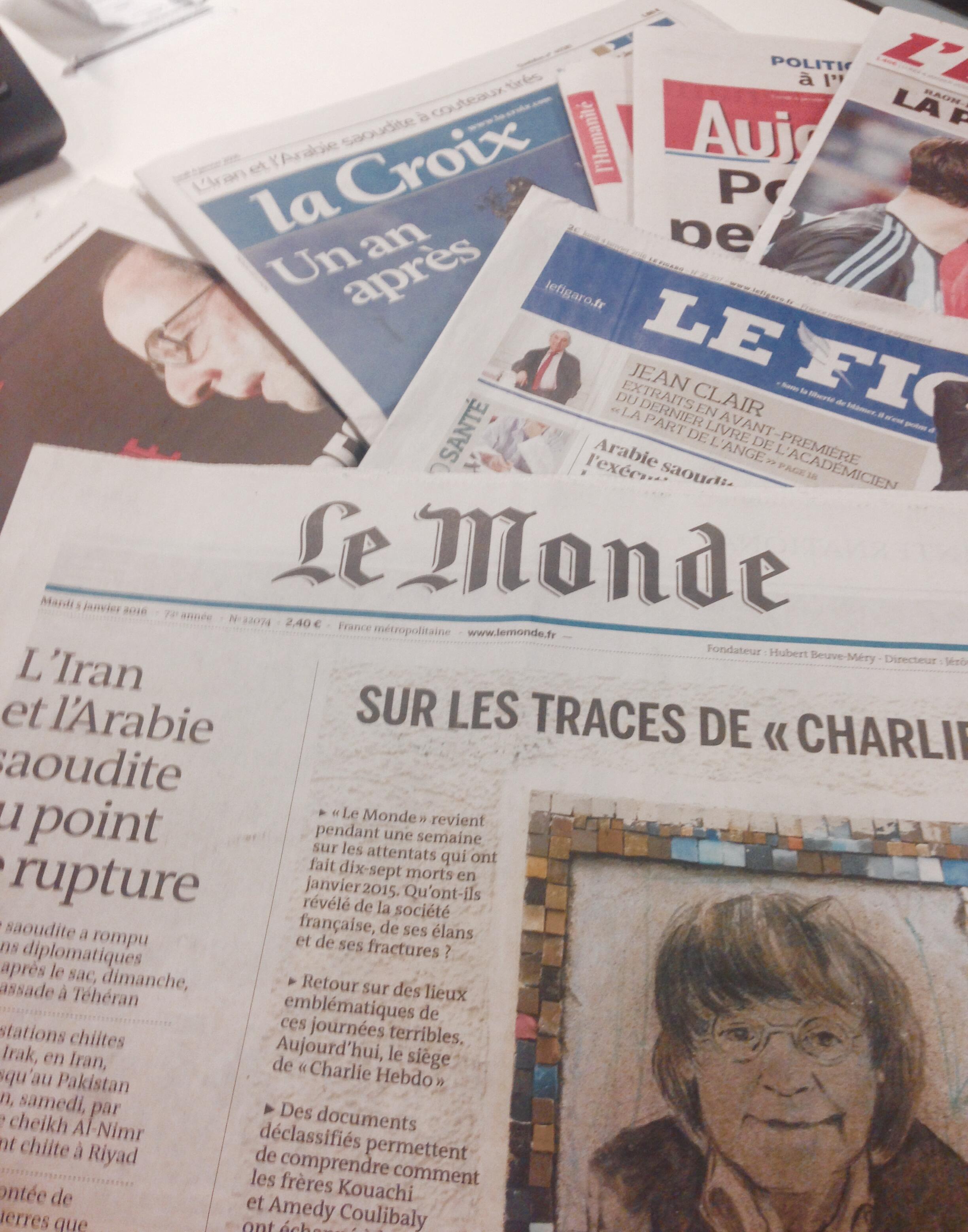 Capas dos jornais franceses 4/01/2016
