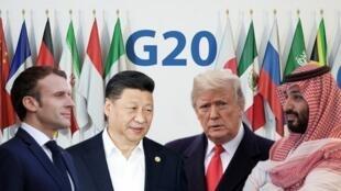 Ảnh ghép các nhà lãnh đạo Pháp, Trung Quốc, Hoa Kỳ, Ả Rập Xê Út ở G20 Achentina.
