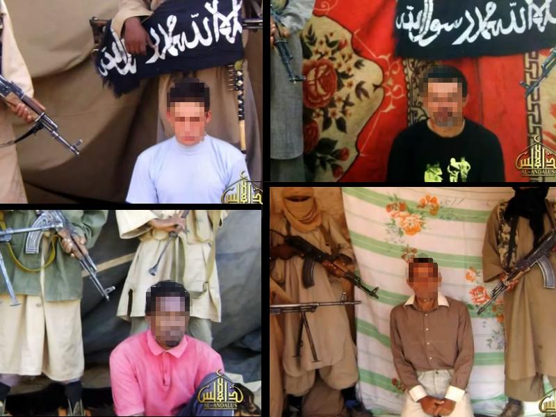 Les quatre otages français aux mains d'Aqmi dans la vidéo diffusée le 26 avril 2011