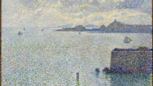 Théo Van Rysselberghe, <i>Voiliers et estuaire (Entrée du port de Roscoff)</i>, 1889 Paris, musée d'Orsay, RF 1982‐16 Huile sur toile, 50 x 61 cm.