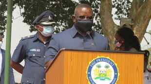 President Bio speaks during the start of Sierra Leone's vaccination campaign.