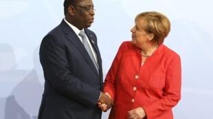 Macky Sall e Angela Merkel no G20 de Hamburgo em Julho de 2017.