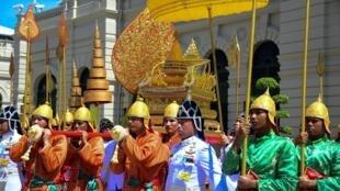 Binh sĩ Thái Lan trong y phục truyền thống nhân lễ đăng quang Tân Vương Thái Lan tại Bangkok, ngày 03/05/2019.