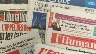 Primeiras páginas jornais franceses 21/10/2015