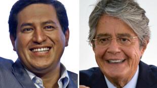 Los candidatos presidenciales Andrés Arauz (izq), del partido Unión por la Esperanza, y Guillermo Lasso, del movimiento Creando Oportunidades (CREO), se enfrentan en la segunda vuelta electoral en Ecuador