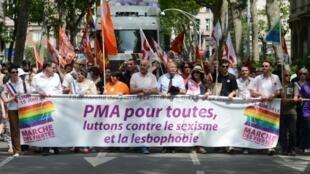 Des manifestants brandissent une banderole appelant à l'ouverture de la PMA aux couples de lesbiennes et aux femmes seules, lors d'une gay pride à Lyon.