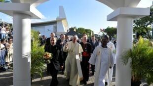 Le pape François lors de son voyage à l'île Maurice, le 9 septembre 2019.