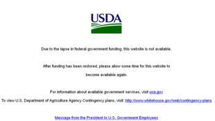 Message du site internet de département américain de l'Agriculture, fermé depuis le «shutdown».