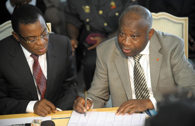 Pascal Affi N'Guessan avec l'ancien président ivoirien Laurent Gbagbo, en octobre 2009.