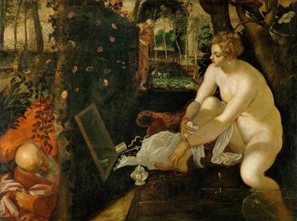Suzanne et les vieillards Tintoret vers 1555-1556. Kunsthistorisches Museum, Gemäldegalerie, Vienne.
