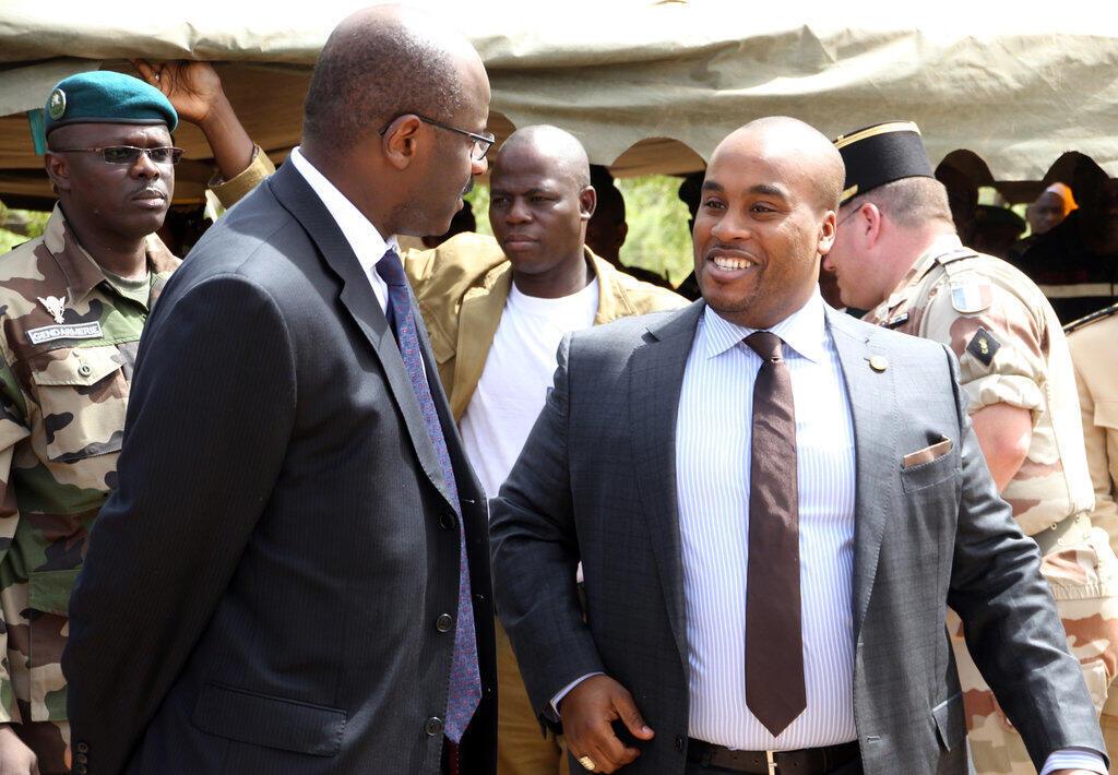 Le fils du président malien, Karim Keïta (à droite), en 2014 à Bamako.