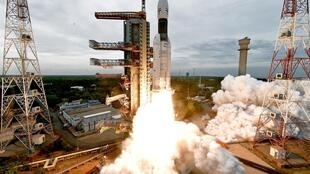 India's space research probe Chandrayaan 2 launched on the Mk III-M1, in Sriharikota, 22 July 2019