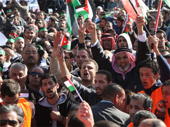 A demonstration against rising gas prices in  Amman last year