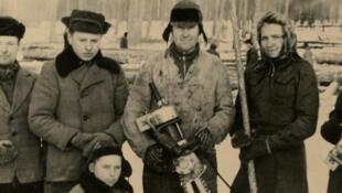 Une brigade de travail à la coupe de bois avec une scie électrique, 1952.