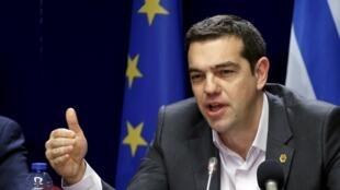 Le Premier ministre grec Alexis Tsipras, le 20 mars lors d'un mini sommet à Bruxelles.