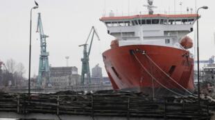 Le vieux port des chantiers navals de Gdansk, le 28 mars 2018 : aujourd'hui, ils sont à peine 500 travailleurs sur les chantiers, contre 15 000 durant la période communiste.