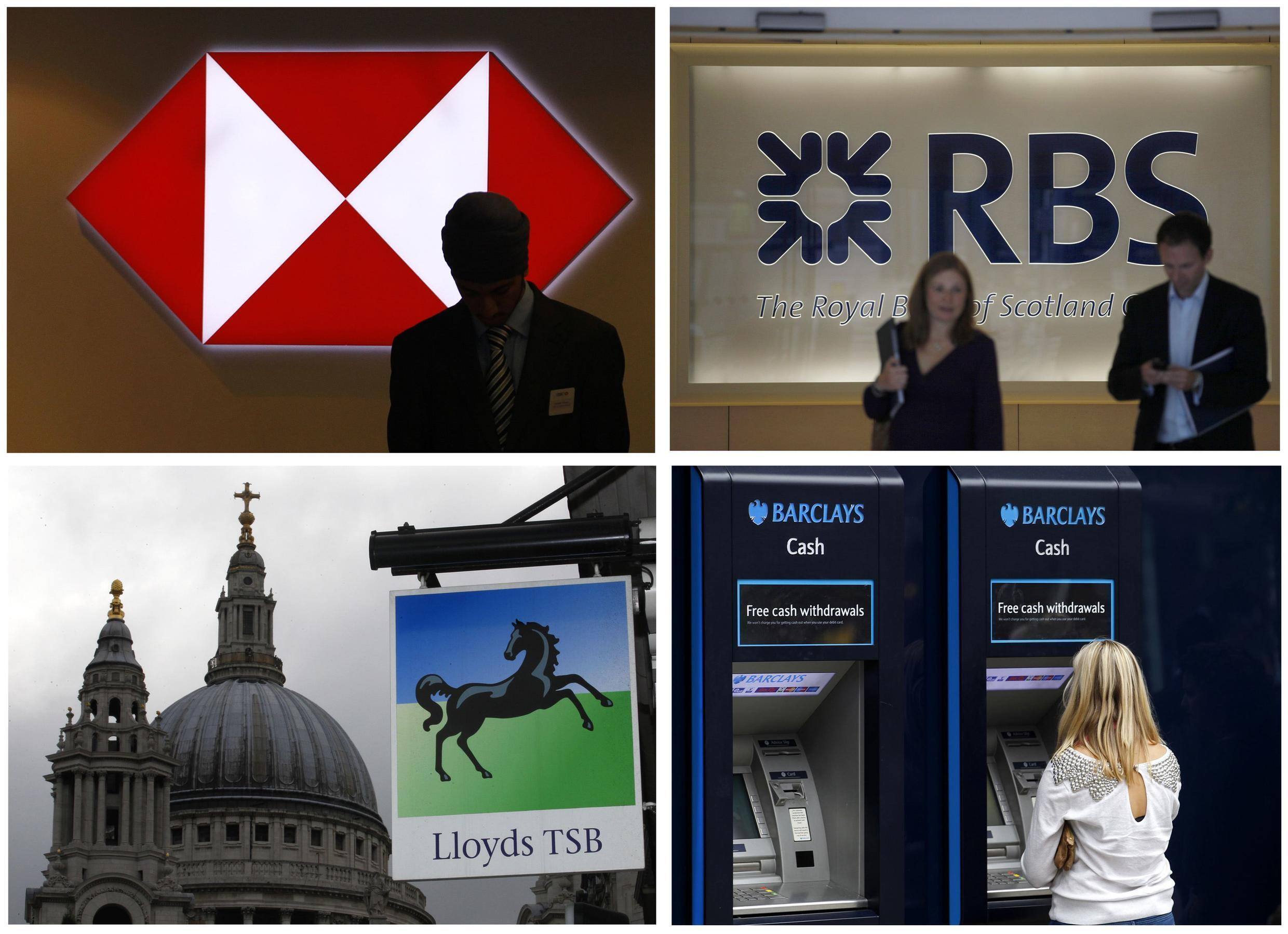 A combination of four photographs shows bank premises in central London