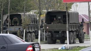 Sur une base militaire en Tchétchénie.