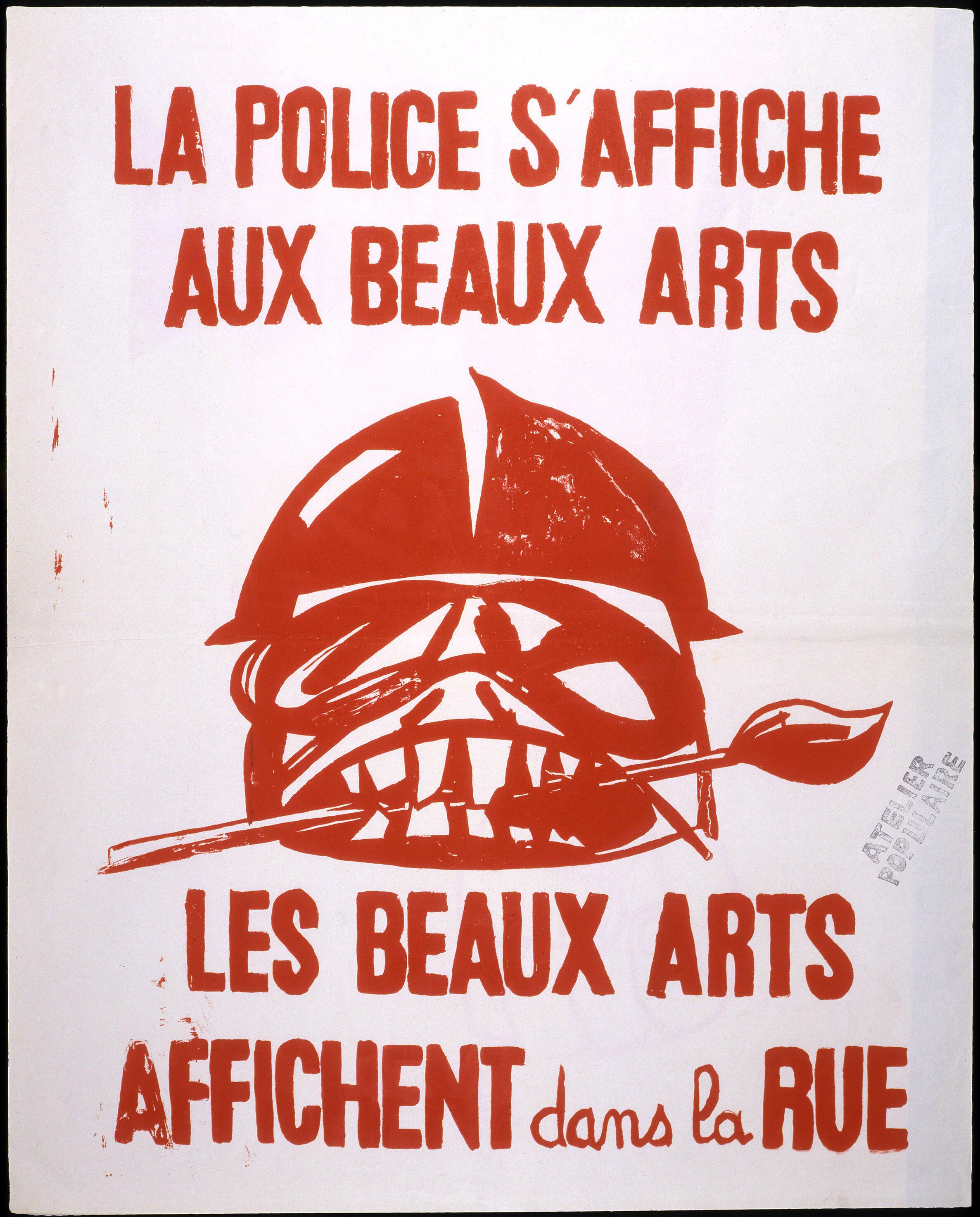 Cartaz feito por alunos da Escola de Belas Artes de Paris.
