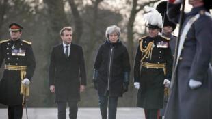 Emmanuel Macron y Theresa May se reunieron en la academia militar de Sandhurst, el jueves 18 de enero de 2018.