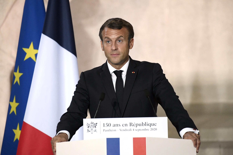 Emmanuel Macron a déclaré que «la République indivisible n'admet aucune aventure séparatiste», lors d'un discours au Panthéon, à Paris le 4 septembre 2020.