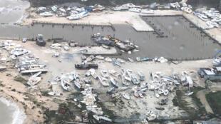 Photo aérienne montrant les conséquences des dégâts causés par l'ouragan Dorian aux Bahamas, le 2 septembre 2019.