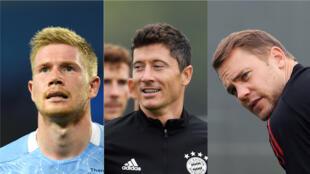 Le Belge Kevin De Bruyne, le Polonais Robert Lewandowski et l'Allemand Manuel Neuer (de gauche à droite) sont finalistes pour le trophée de meilleur joueur UEFA de la saison 2019-2020.