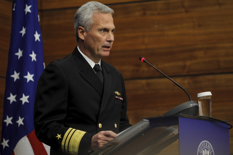 Phó Đô đốc James D. Syring, Giám đốc cơ quan phòng thủ tên lửa Mỹ phát biểu tại Bộ Ngoại giao Rumani, Bucarest, ngày 18/12/2015
