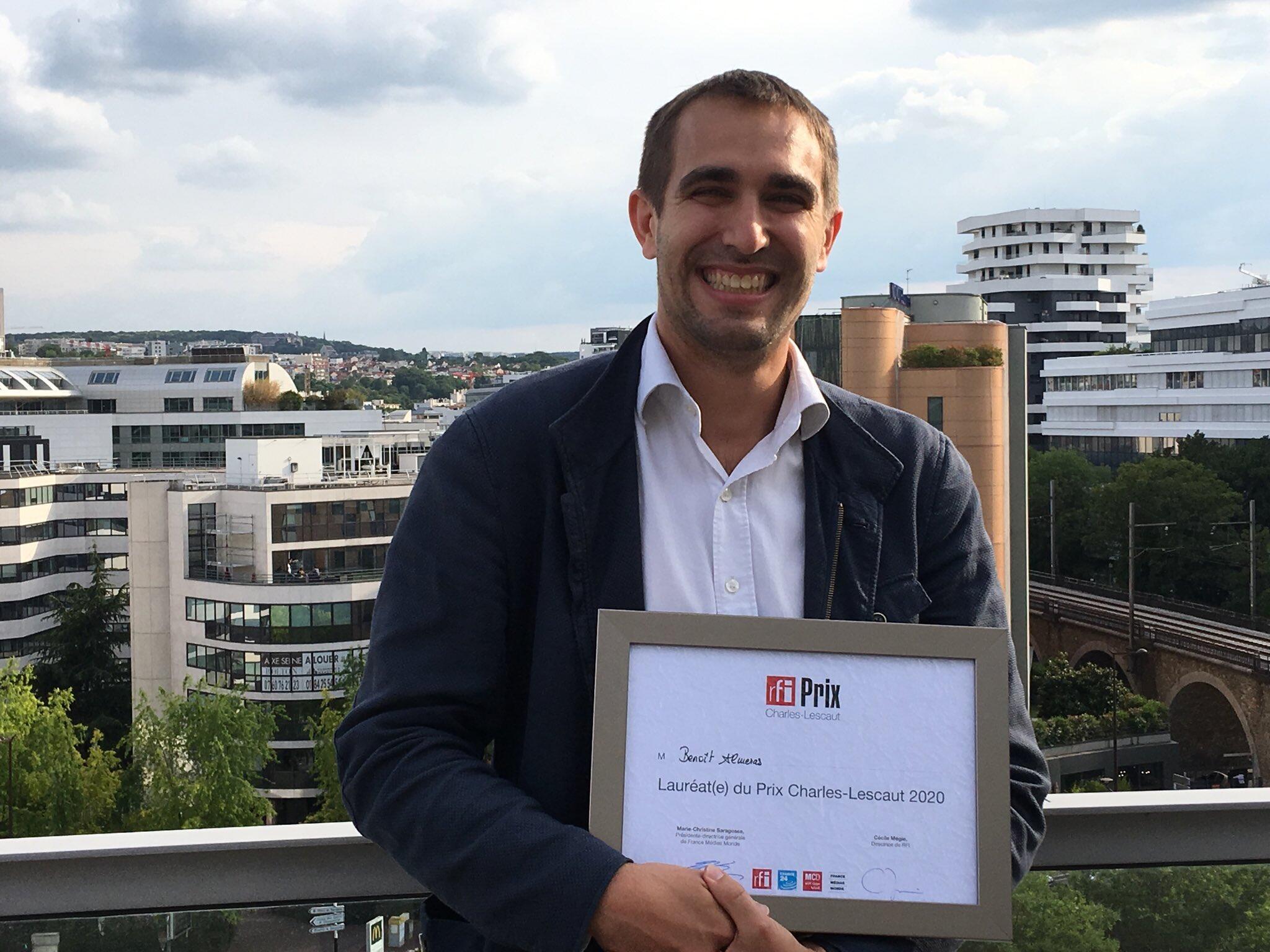 Benoit Almeras, lauréat du Prix RFI Charles-Lescaut 2020.