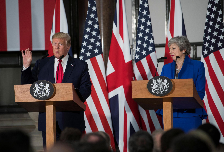 نشست مشترک خبری دونالد ترامپ، رئیس جمهوری آمریکا و ترزا می، نخستوزیر بریتانیا در لندن. سهشنبه ١٤ خرداد/ ٤ ژوئن ٢٠۱٩