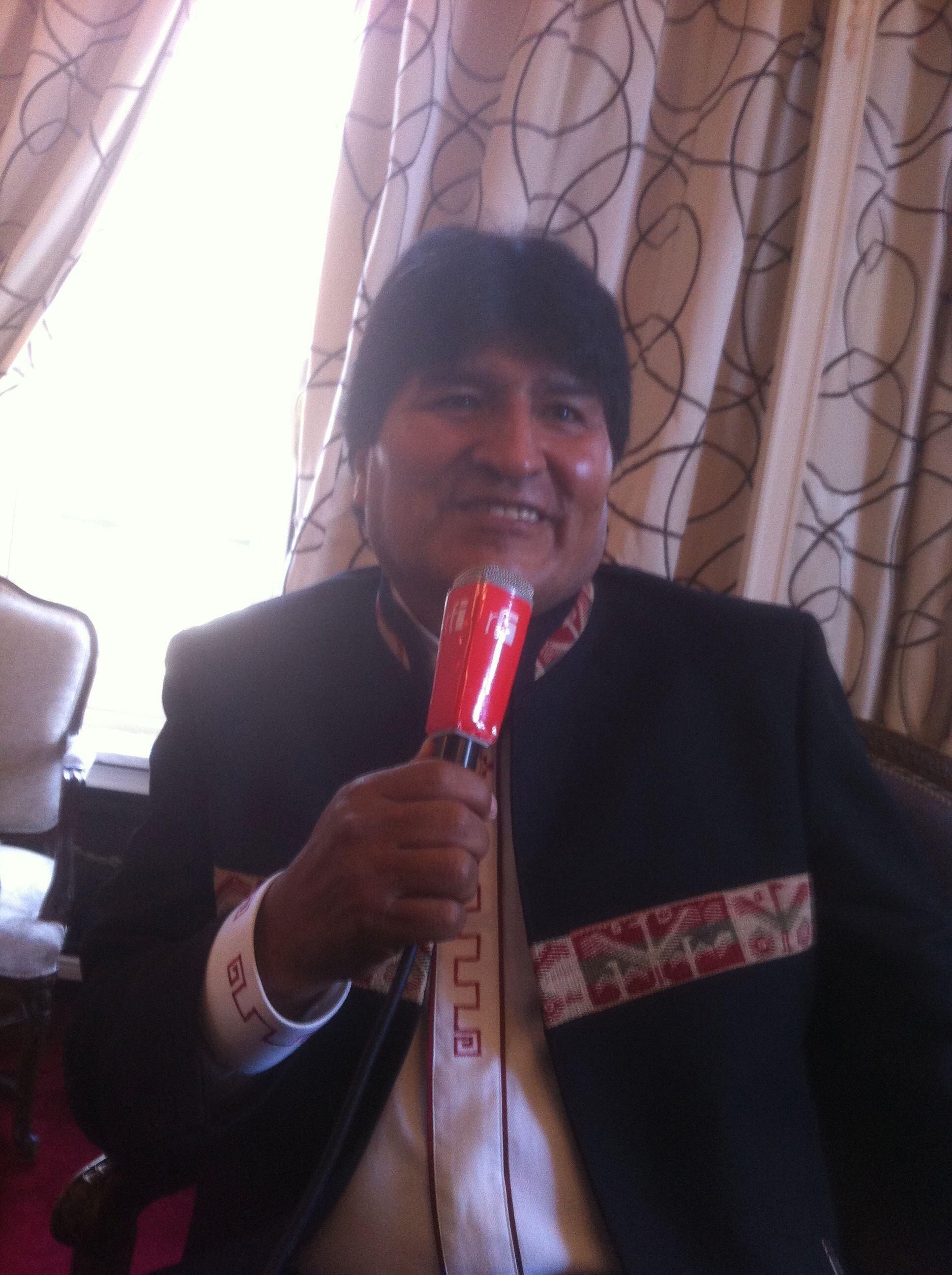 El presidente Evo Morales durante su entrevista exclusiva a RFI