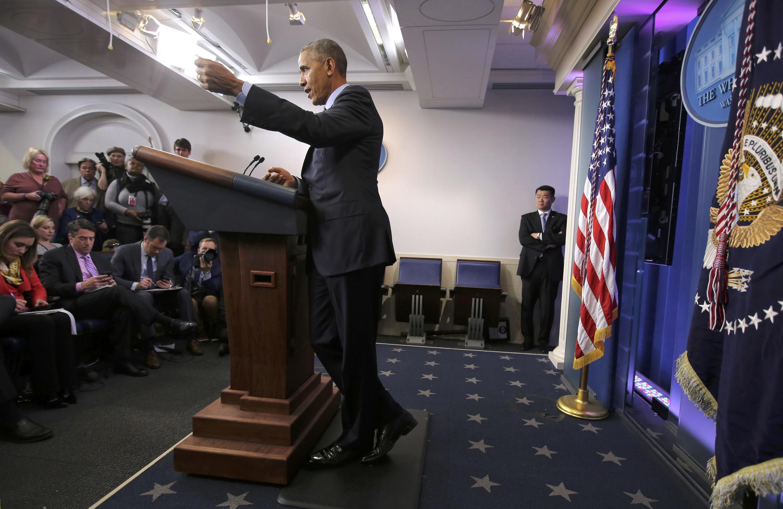 Tổng thống Obama trong cuộc họp báo cuối cùng tại Nhà Trắng, ngày 16/12/2016.