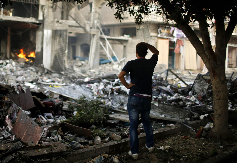 Cảnh đổ nát hoang tàn tại Gaza. Ảnh ngày 11/07/2014
