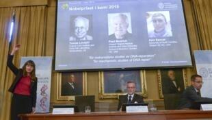 Anuncio del premio Nobel de Química, el 7 de octubre de 2015 en Estocolmo.