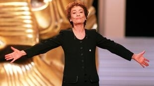French actress and President of the Ceremony Annie Girardot delivers a speech during the 22nd Cesar Awards ceremony in Paris