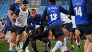 Les Bleus à l'entraînement à Nice, le 28 janvier 2021