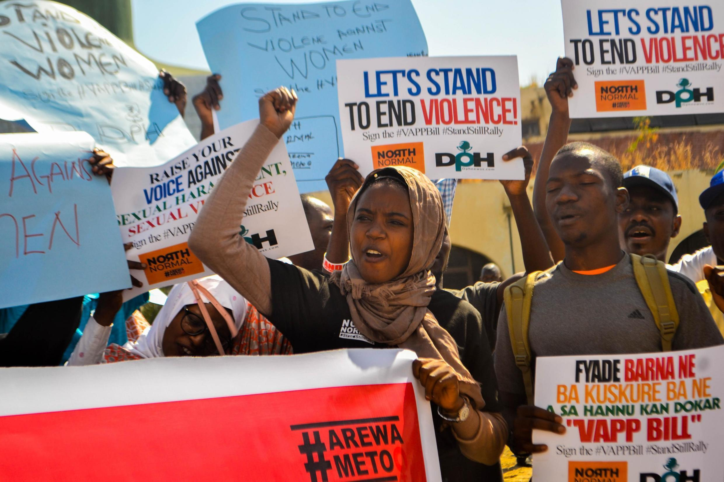 Activists caling for an end to sexual abuse march on the House of Assembly in Kano, northern Nigeria on 25 November, 2019.