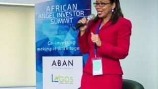 La femme d'affaires camerounaise Rebecca Enonchong lors de la réunion annuelle de l'African business angels network, en novembre 2016.