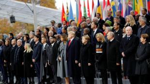 Nguyên thủ và lãnh đạo các nước trên thế giới dự lễ kỷ niệm 100 năm chấm dứt Thế Chiến I, ngày 11/11/2018 tại Khải Hoàn Môn, Paris.