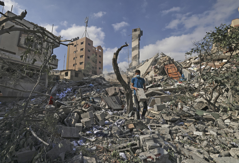 Một tòa nhà tại Gaza sau trận oanh kích. Ảnh chụp ngày 18/05/2021.