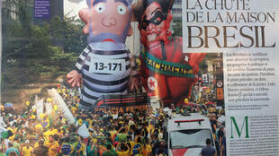 """""""A casa do Brasil caiu"""" é a manchete da reportagem da revista L'Obs sobre a crise no país."""