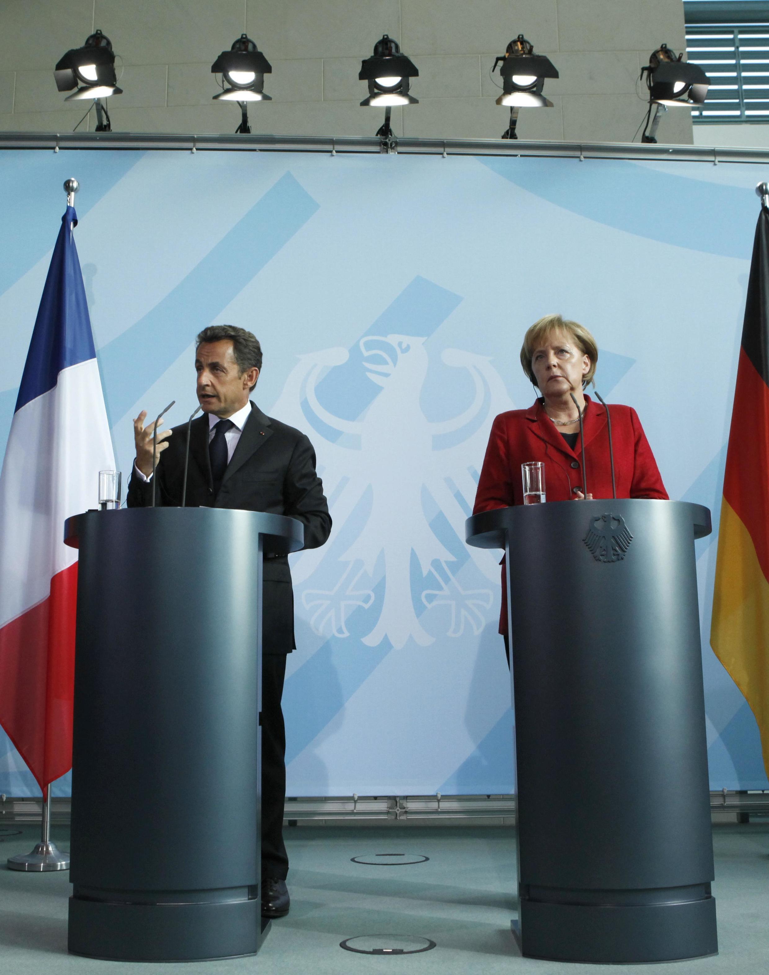 Н.Саркози и А.Меркель на встрече в Берлине 14 июня 2010 г.