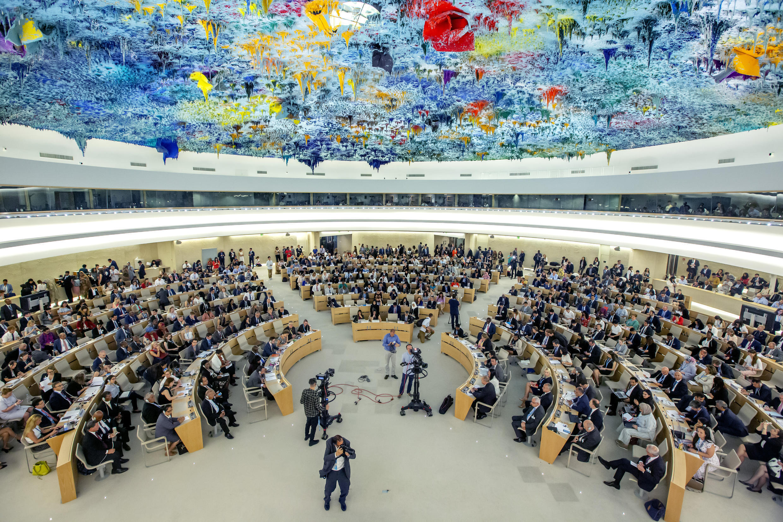 位于日内瓦的联合国人权理事会会场
